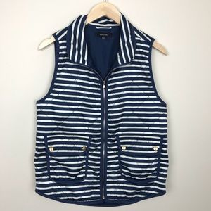 5/$25 41Hawthorn Blue White Striped Quilted Vest